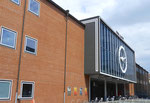Der Haupteingang zur archtektonisch schönen Rundhofhalle der Mustermese Basel  (Baujahr 1953)
