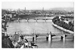 Ansichtskarte Basel. Blick auf drei Rheinbrücken (Photo u.Verlag Gebr.Frey Basel)