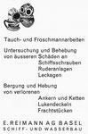 Inserat der Firma «E.Reimann Schiff- und Wasserbau Basel» in der Zeitschrift «Strom und See»1964