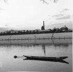 Unterer Rheinweg mit Blick gegen den Schlachthof Basel, 1962