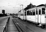 Ein Tramzug der BEB (Bisseck-Bahn)  an der Haltestelle Dreispitz im Jahre 1969