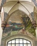 Hauptpost Basel mit dem fantastischen Wandemälde «Der Rheinhafen im Jahr 1916», Foto Juni 2021