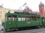 Hundert Jahre Tram nach St.Jakob. Motorwagen Be 2/2 Nr.190 mit einem Sommerwagen auf der Linie 22 an der Haltestelle Marktplatz, 2016