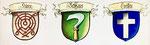 Die Wappen der Drei Kleinbasler-Ehrengesellschaften «Rebhaus, Hären, Greifen»