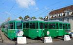 Vier Anhängewagen der Serie B4 Nr.1465, 1468, 1474 und 1469 bereit zur Verschrottung, Depot Dreispitz 2016