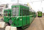 Anhängewagen B4 Nr.1480, Nr.1494 und andere stehen vor dem Depot Dreispitz, bereit zur Verschrottung, Juni 2018
