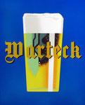 Das Logo der ehemaligen Basler Brauerei Warteck auf einem Emailschild im einstmaligen Restaurant Aeschentor 1980
