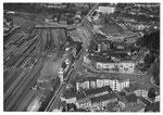 Ansichtskarte Basel. Bundesbahnhofplatz Serie Fliegeraufnahmen (Luftphoto Aviatik beider Basel- Verlag Xaver Frey- Basel)
