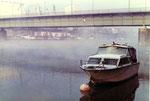 Die Dreirosenbrücke mit dem St.Johann-Hafen, 1972