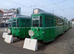 Hintere Ansicht der DÜWAG-Trammotorwagen Nr.642 und 645 auf der Abstellanlage vor dem Depot Dreispitz, Oktober 2015