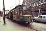 """Der legendäre Trammotorwagen Be 4/4 Nr. 400 """"Dante Schuggi"""" auf der Stammlinie 11 an der Endstation Aeschenplatz im täglichen Einsatz, 1972"""