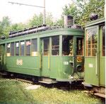 Der Trammotorwagen Be 2/2 Nr. 180 steht nach einem Unfall in der Abstellanlage Eglisee, 1972