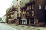Die Aeschenvorstadt vor Abbruch aller Häuser um 1975 (Verbreiterung der Aeschenvorstadt)