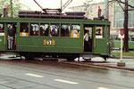 Trammotorwagen Be 2/2 Nr.167 der Linie 2 an der Kehrschleife während der Mustermesse, 1972