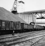 Der schnelle Kran Nr.4 der Schweizerischen Reederei im Hafenbecken 1 im Jahre 1960