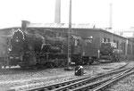 Dampflokomotive BR 57 3088 im Bahnbetriebswerk Haltingen, 1971