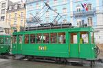 Der Trammotorwagen Be 2/2 Nr.181 an der Haltestelle Bahnhof SBB, 2016