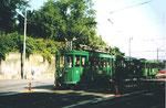 Ein Tramzug der Linie 2 die Wettsteinbrücke verlassend, 1994