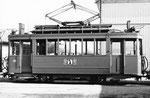 Nochmals eine Seitenansicht, diesmal der Trammotorwagen Be 2/2 Nr.181 vor dem Depot Dreispitz, 1970
