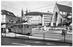 Ansichtskarte Basel. Barfüsserplatz mit Tram Linie 9 (Rückseite der Karte beschädigt: Verlag & Photo ?)