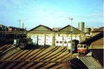 Das grosse Lokdepot im Bahnhof Basel SBB im Jahre 1982