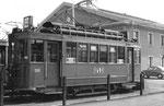 der Trammotorwagen Be 2/2 Nr.203 auch vor dem Depot Dreispitz, aber im Jahre 1970