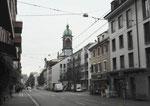 Die Klybeckstrasse mit Blick Richtung Bläsiring und Josephskirche 2018. Im kleinen Eckhaus war bis in die 90er-Jahre die hervorragende Bäckerei Gueng.