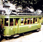 Der Trammotorwagen Be 2/2 Nr. 173 der Linie 2 in der Abstellanlage in Kleinhüningen, 1970