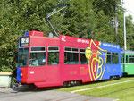 Der FCB-Trammotorwagen Be 4/4 an der Endhaltestelle Eglisee, 2016