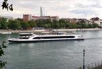 Das neue Personenschiff der BPG «Rhystärn» auf Talfahrt. Baujahr 2018, Länge 70m, Breite 11,5m, Hersteller ÖSWAG Werft in Linz, Foto: August 2019