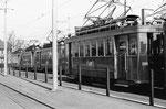 Der Trammotorwagen Be 2/2 Nr.204 nebst anderen dieser Serie vor dem grossen Depot Dreispitz, 1969