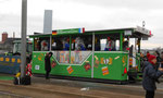 Fasnacht 2016, der Wagen der Grenzwaggis mit dem Sujet «BVB kennt keine Grenzen« Linie 8 nach Weil am Rhein