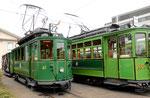 Betriebstag 50 Jahre Tramclub Basel: Zwei Trammotorwagen der Serie Be 2/2 Nr.47 und Nr.163 vor dem Depot Dreispitz, Juni 2018