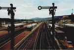 Der Bahnhof Weil am Rhein mit Blick Richtung Norden, 1982
