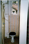 Das WC im 1.Stock des Hauses Bläsiring 129, hygienische Zustände, wie sie bis in die 80er Jahre normal waren, 1988