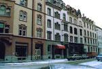 Die schöne intakte Häuserreihe am Claragraben, 1987