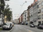 Blick in die Klybeckstrasse in Richtung Bläsiring im Jahre 2018. Im dritten Haus von rechts war in den 60er-Jahren die Bäckerei Trautwein, Foto 2018