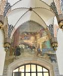 Hauptpost Basel mit dem Wandbild «Das alte Kaufhaus vor dem Jahr 1853», Foto Juni  2021
