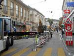 Vollsperrung des Trambetriebs wegen Gleiserneuerung am Steinenberg im September 2017