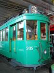 Nahaufname des Trammotorwagen Be 2/2 Nr.202 im Verkehrshaus, 2015 (siehe zum Vergleich dazu vorangehende Fotos Nr.185 und 186)