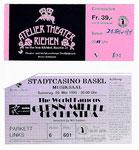 Bilette des Glenn Miller Orchesters im Stadtcasino 1995 und des Atelier Theaters in Riehen 1998