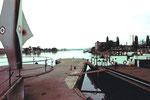 Die Dreiländerecke mit der Autofähre von Weil am Rhein nach Huningue (oder umgekehrt), 1974