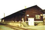 Der Bahnhof St.Johann mit der Tierabladerampe für die Schlachthöfe ACV und des Kantons Basel-Stadt, 1983