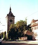 St.Johanns-Tor und rechts die Firma GABA an der St.Johanns-Vorstadt im Jahre 1976