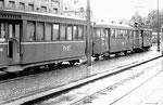 Ein Tramzug der Linie 11 am Aschenplatz, bereit für die lange Fahrt nach Aesch, 1969
