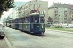 Ein Tramzug der Serie Be 4/4 Nr.4 24 in der Horburgstrasse die Haltestelle Lagerhaus anfahrend, 1970