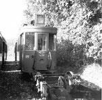Der Trammotorwagen Be 2/2 Nr. 177 in der Abstellanlage Eglisee, 1971