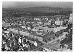 Ansichtskarte BS 271 Mit dem Flugzeug über....Basel Schweiz.Mustermesse (Service aérien PERROCHET Lausanne)