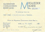 Mitgliederkarte des ACV (Allgemeiner Consumverein beider Basel) vom 16.April 1930