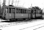 Der Rangier-Trammotorwagen Be 2/2 Nr. 2016 und der Anhängewagen Nr. 1186 in der Abstellanlage Eglisee, 1970